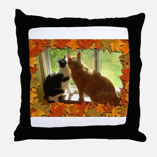 Autumn Cats/Orange Tabby Throw Pillow