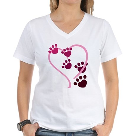 Dog Paws Women's V-Neck T-Shirt