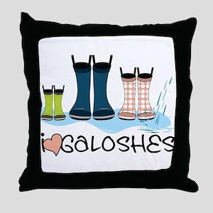 I Love Galoshes Throw Pillow