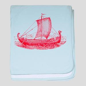 Cool Vintage Viking Ship Design baby blanket