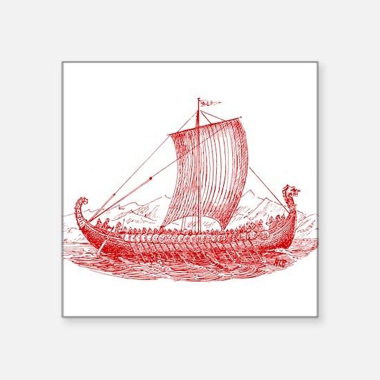 "Cool Vintage Viking Ship Design Square Sticker 3"""