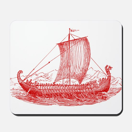 Cool Vintage Viking Ship Design Mousepad