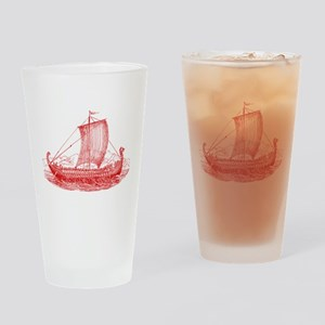 Cool Vintage Viking Ship Design Drinking Glass