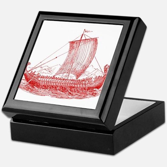 Cool Vintage Viking Ship Design Keepsake Box