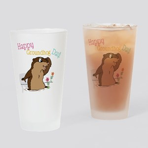 Happy Groundhog Day Drinking Glass