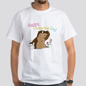 Happy Groundhog Day White T-Shirt