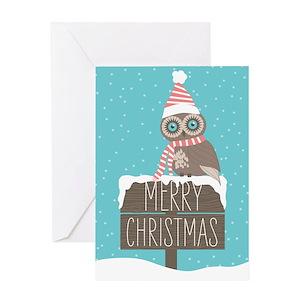 owl christmas greeting cards cafepress - Owl Christmas