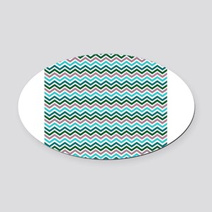 Peacock Chevrons Oval Car Magnet