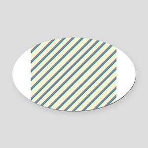 Ivory Purple Blue Diagonal Stripes Oval Car Magnet