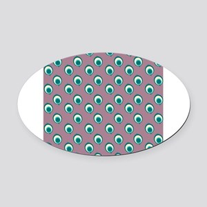 Purple Peacock Polka Dots Oval Car Magnet