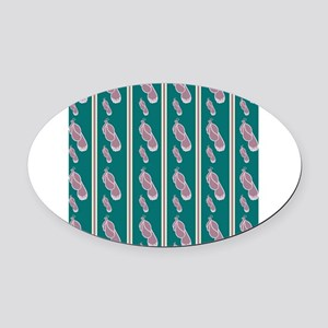 Peacock Stripes Oval Car Magnet