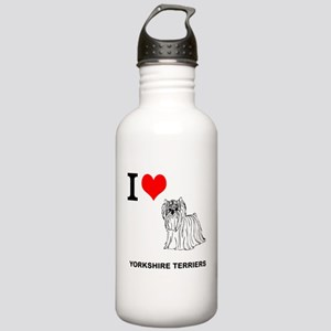 I love Yorkshire Terriers Stainless Water Bottle 1