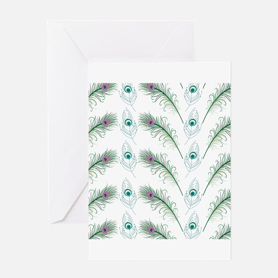 Peacock Feathers Pattern Greeting Card