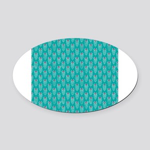 Teal Peacock Feathers Oval Car Magnet