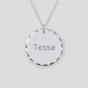 Tessa Paper Clips Necklace Circle Charm