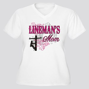 linemans mom white shirt with pole Plus Size T-Shi