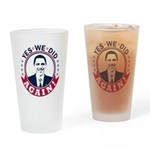 Obama Yes We Did Again Color Drinking Glass