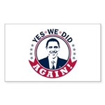 Obama Yes We Did Again Color Sticker (Rectangle)