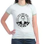 Obama Yes We Did Again BW Jr. Ringer T-Shirt
