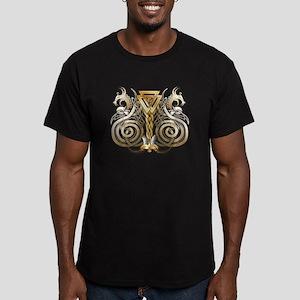 Norse Valknut Dragons Men's Fitted T-Shirt (dark)