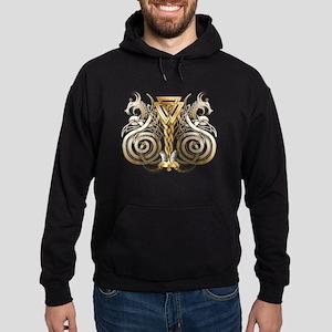 Norse Valknut Dragons Hoodie (dark)