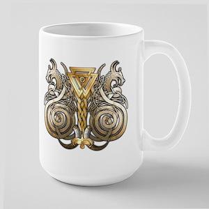 Norse Valknut Dragons Large Mug