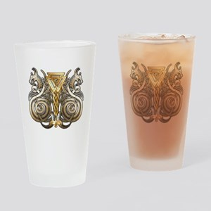 Norse Valknut Dragons Drinking Glass