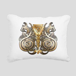 Norse Valknut Dragons Rectangular Canvas Pillow