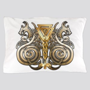 Norse Valknut Dragons Pillow Case
