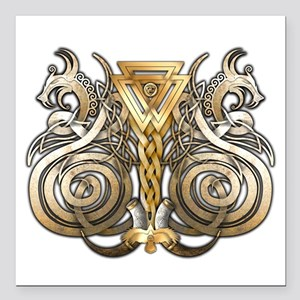 "Norse Valknut Dragons Square Car Magnet 3"" x"