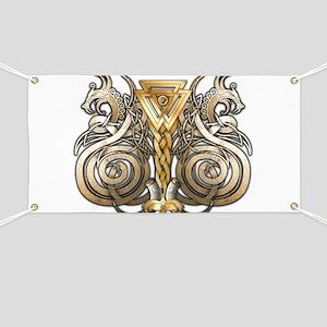Norse Valknut Dragons Banner