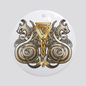 Norse Valknut Dragons Ornament (Round)