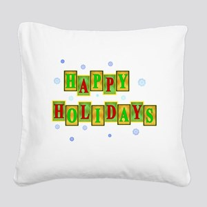 Happy Holidays Square Canvas Pillow
