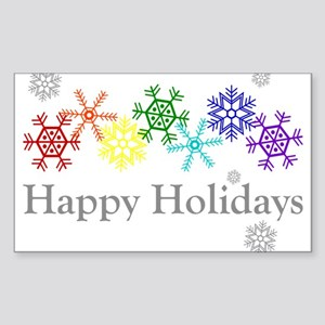 Rainbow Snowflakes Sticker (Rectangle)