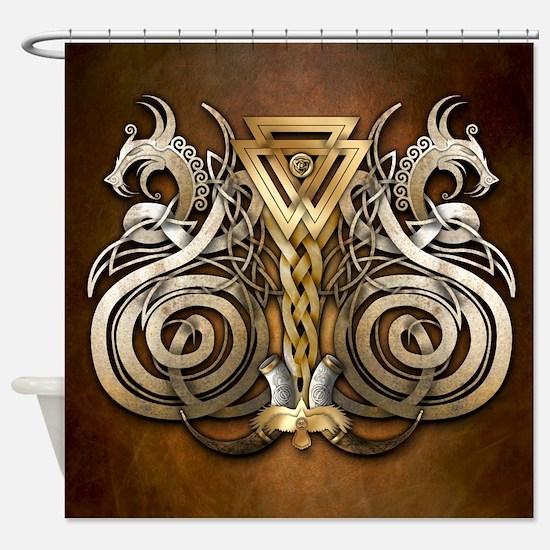 Norse Valknut Dragons Shower Curtain