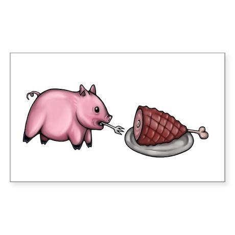 Pig Eats Pig Sticker (Rectangle)