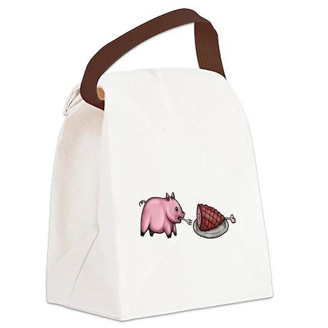 Pig Eats Pig Canvas Lunch Bag