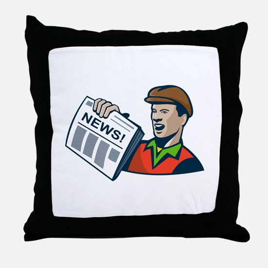 Newsboy Newspaper Delivery Retro Throw Pillow