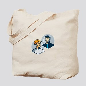 Construction Worker Telemarketer Retro Tote Bag