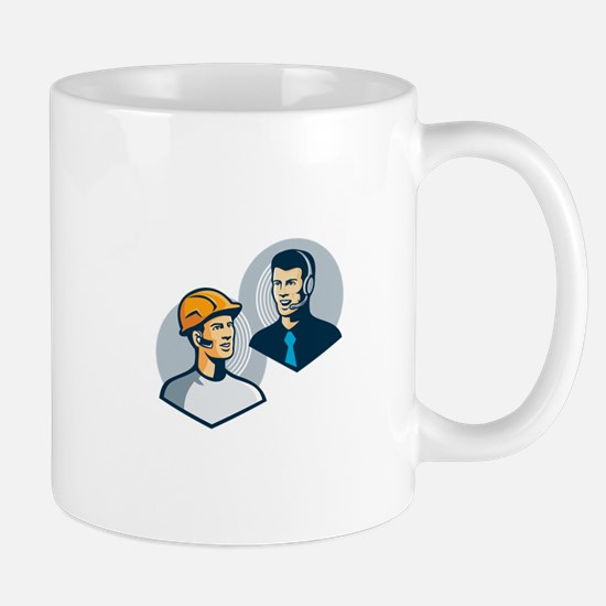 Construction Worker Telemarketer Retro Mug