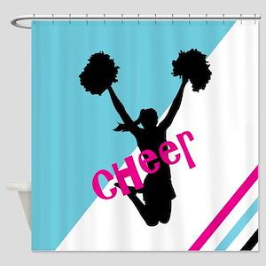 Aqua | Pink Cheerleader Cheer Shower Curtain