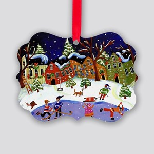 Folk Art Holiday Picture Ornament