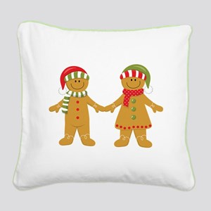 Gingerbread Man Couple Square Canvas Pillow