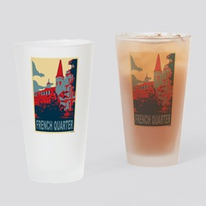 French Quarter in Red and Blue Drinking Glass