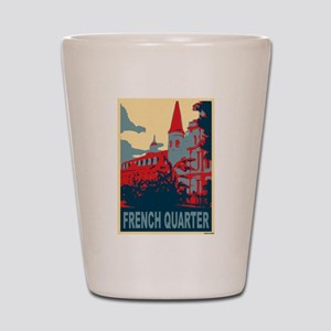 French Quarter in Red and Blue Shot Glass