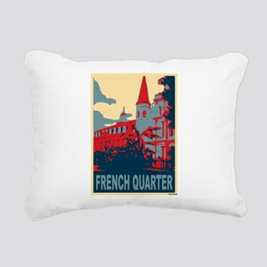 French Quarter in Red and Blue Rectangular Canvas