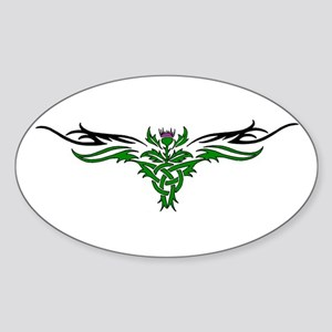 Tribal Thistle Oval Sticker