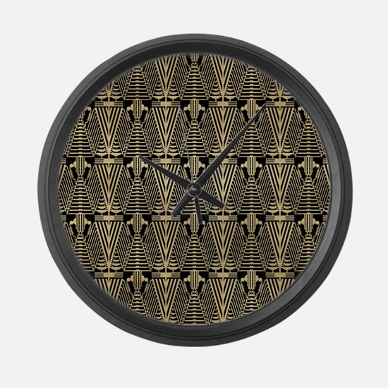 Gold and Black Art Deco Fancy Pattern Large Wall C