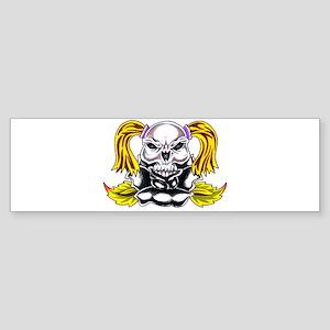 PonyTail Skull Bumper Sticker
