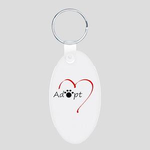 Adopt Aluminum Oval Keychain